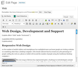 The Edit Page screen